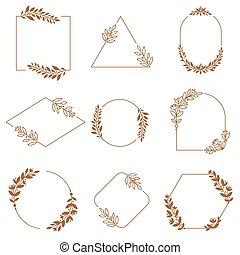 dekoracyjny, symbole, dekoracyjny, wektor, komplet, frames., liście, wieniec, frame., układa, kwiaty, gałęzie, odznaka, kwiatowy, ozdoba, minimalista, emblemat