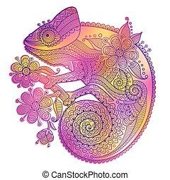 dekoracyjny, tęcza, kameleon, ilustracja, wzory, wektor