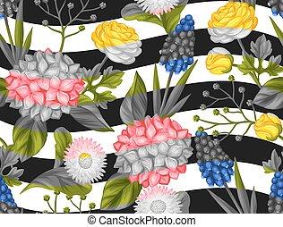 dekoracyjny, tekstylny, korzystać, ogród, zasłona, marguerite., próbka, tapeta, opakowanie, seamless, papier, flowers., odpoczynek, ranunculus, muscari, hortense
