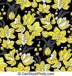 dekoracyjny, tropikalny, repeatable, motyw, kwiatowy