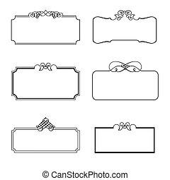 dekoracyjny, układa, komplet, wektor, ilustracja