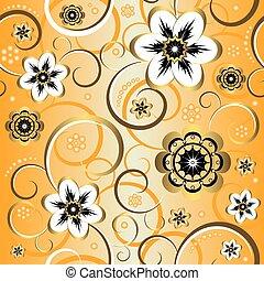 dekoracyjny, (vector), próbka, seamless, żółty, kwiatowy