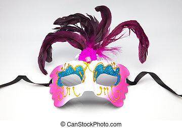 dekoracyjny, wenecka maska, karnawał