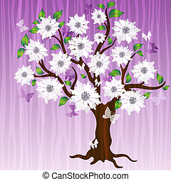 dekoracyjny, wiosna, drzewo