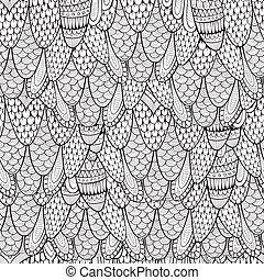 dekoracyjny wzór, abstrakcyjny, seamless, ręka, pociągnięty