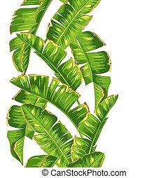 dekoracyjny wzór, leaves., seamless, tropikalny, dłoń, liście, banan