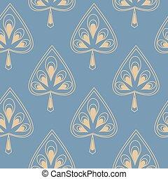 dekoracyjny wzór, liście, seamless, stylizowany, symetryczny