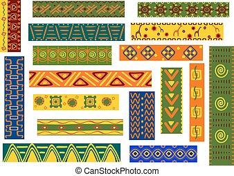 dekoracyjny, wzory, etniczny, upiększenia, afrykanin
