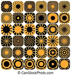 dekoracyjny, wzory, set., projektować, elements.