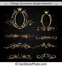 dekoracyjny, złoty, projektować, elements., vector.
