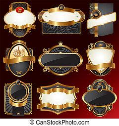 dekoracyjny, złoty, wektor, układa, ozdobny
