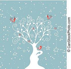 dekoracyjny, zima drzewo