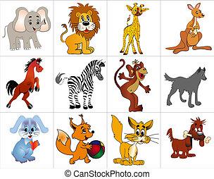 dekoracyjny, zwierzęta, wesoły, zestaw