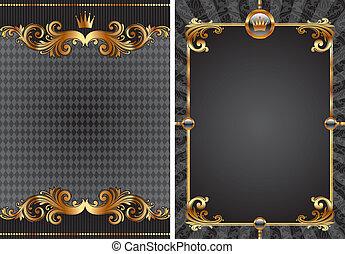 dekoratív, állhatatos, arany, &, vektor, fekete, fényűzés, háttér
