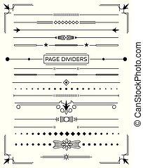 dekoratív, állhatatos, elements., mérőkörző, tervezés, retro, oldal