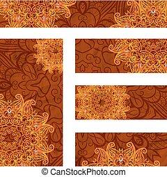 dekoratív, állhatatos, keret, vektor, háttér, tervezés, sablon, virágos