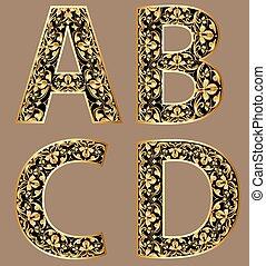 dekoratív, abcd, arany, szüret, ábra, betűk, betűtípus