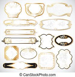 dekoratív, arany-, fehér, elnevezés, vektor