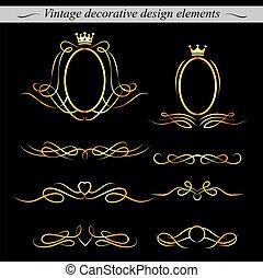 dekoratív, arany-, tervezés, elements., vector.