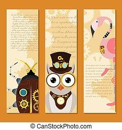 dekoratív, bagoly, fantasztikus, állhatatos, festival., steampunk, keret, fém, mód, vektor, vagy, metszés, flamingó, fogaskerék-áttétel, állat, ganajtúróbogár, ábra, fél, szalagcímek, pistols.