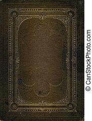 dekoratív, barna, öreg, arany, megkorbácsol, keret, struktúra