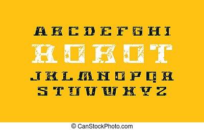 dekoratív, betűtalp, betűtípus, alatt, futuristic, mód