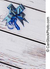dekoratív, blue szalag, és, bow.