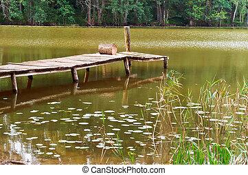 dekoratív, bridzs, fából való, felett, tó, folyó, út