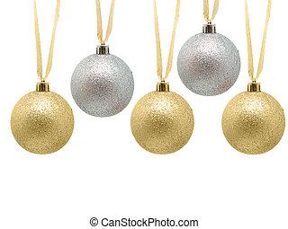 dekoratív, christmas bauble, noha, íj, szalag