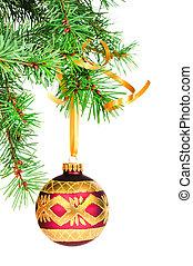 dekoratív, christmas labda, akaszt, képben látható, a, karácsony, fa.