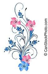 dekoratív, díszítés, virágos
