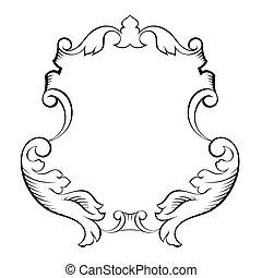 dekoratív, díszítő, barokk, keret, építészeti