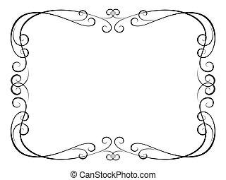 dekoratív, díszítő, keret, kézírás