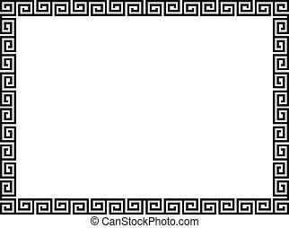 dekoratív, díszítő, mód, keret, görög, fekete