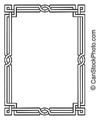 dekoratív, díszítő, mód, keret, római, fekete