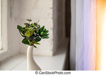 dekoratív, decor:, kerámiai, otthon, oktatás, template., álló, hely, szüret, szobanövények, ablak, fehér, plant., szobai, kényelmes, nagy, váza, másol, interior.business, succulents, zöld, vagy