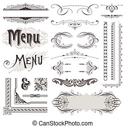 dekoratív elem, &, calligraphic, vektor, tervezés, dekoráció...