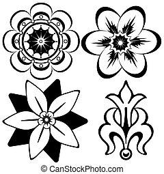 dekoratív elem, (vector), szüret, tervezés, virágos