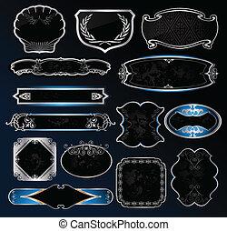 dekoratív, elnevezés, vektor, fekete, keret, ezüst