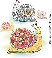dekoratív, elvont, állhatatos, csigák