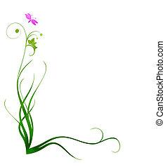 dekoratív, fű, határ