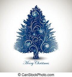 dekoratív, fa, kivonat tervezés, karácsony