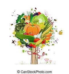 dekoratív, fa, növényi