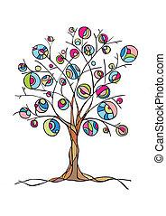 dekoratív, fa, noha, gyümölcs