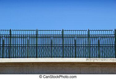 dekoratív, felüljáró, kerítés, autóút, texas, államközi