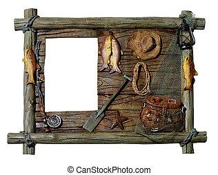 dekoratív, film, wooden keret, téma, halászat