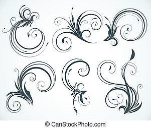 dekoratív, floral elem