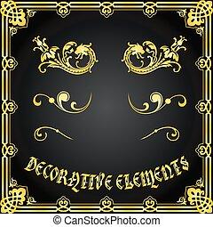 dekoratív, floral elem, tervezés, dísztárgyak