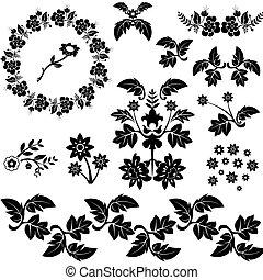 dekoratív, floral elem, tervezés, karikatúra