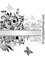 dekoratív, floral lobogó, (black